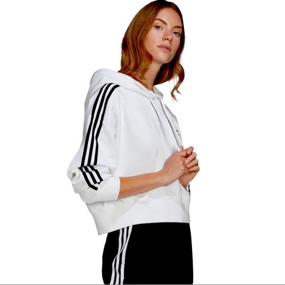 Adidas white crop top hoodie Women size S